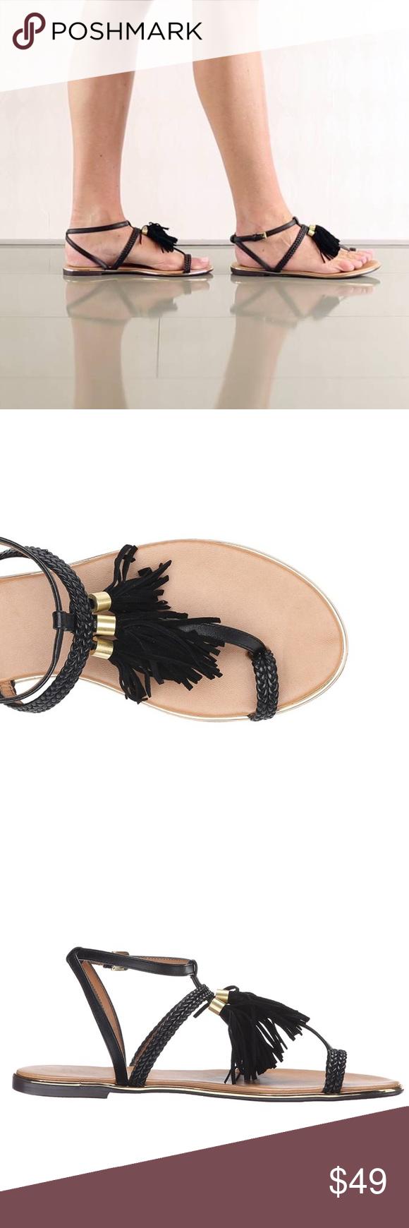 7f2f5801f Tassel Fringe Black Gold Hardware Sandal Tassel embellished Sandals.  Breaded Straps with Tassel and Fringe
