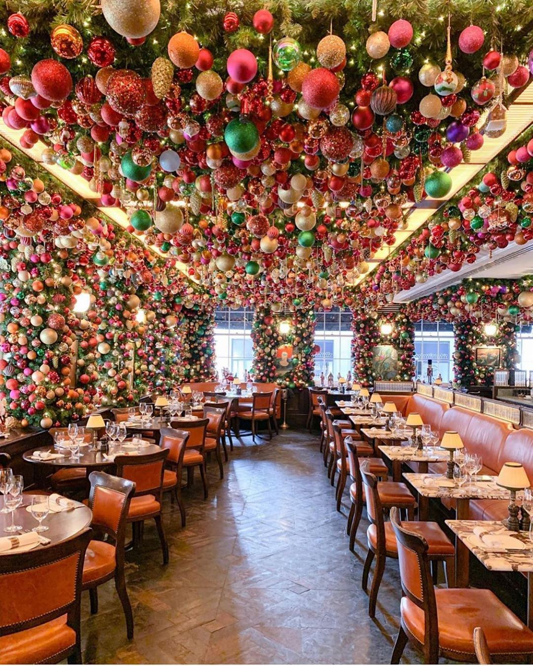 The Most Comprehensive List Of The Most Instagrammable Cafes In London Together With The Prettiest D In 2020 London Christmas Christmas Decorations Festive Dining Room