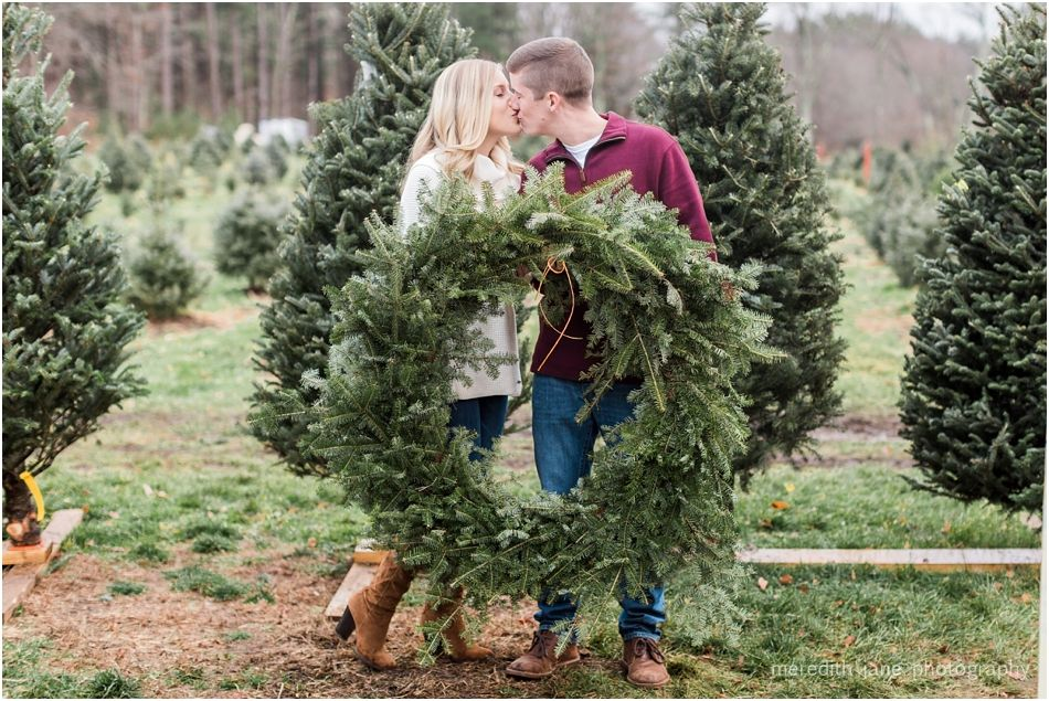 Mistletoe Acres Tree Farm Engagement Meredith Jane Photography Tree Farms Acre Christmas Kiss
