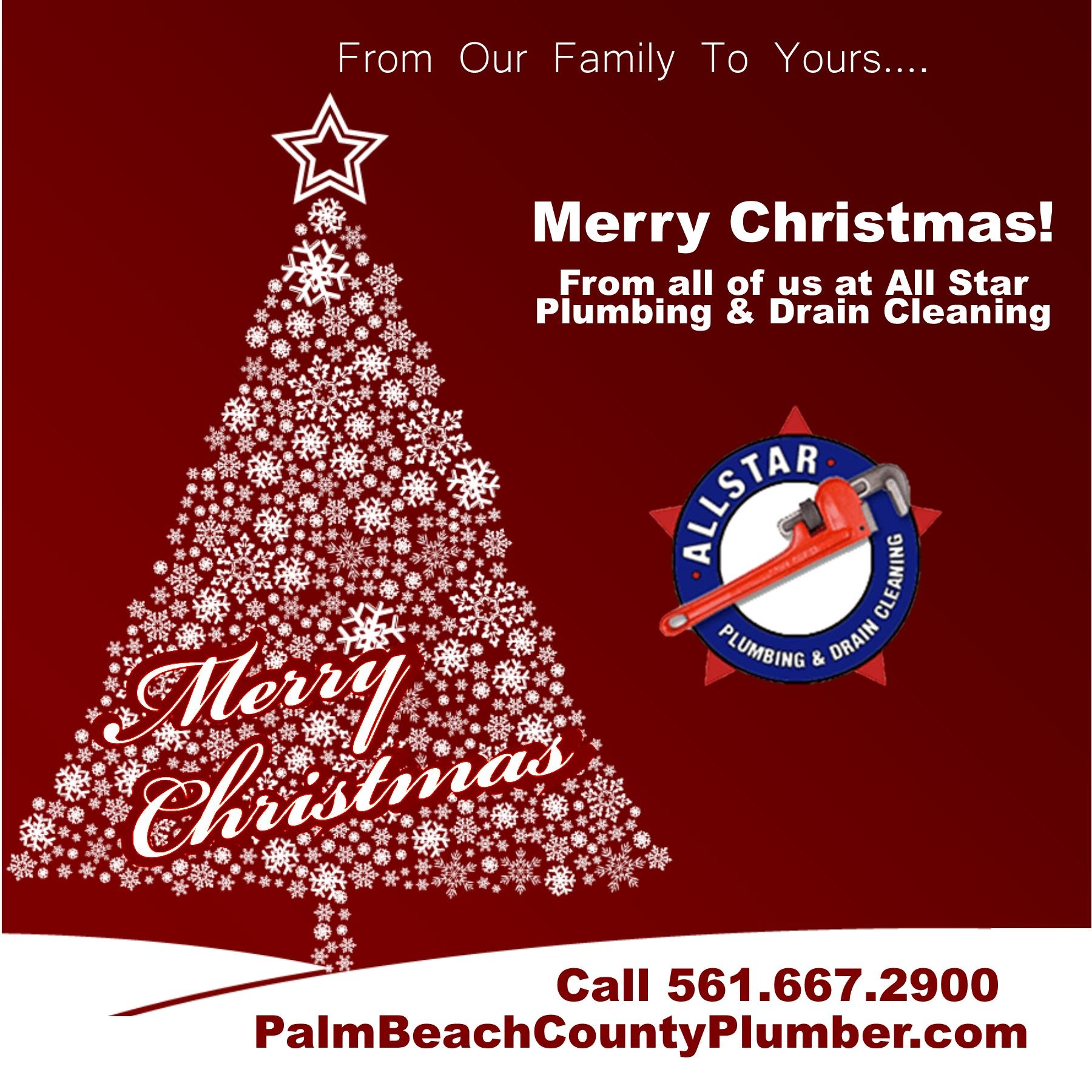 Merry Christmas From All Of Us At All Star Plumbing Drain