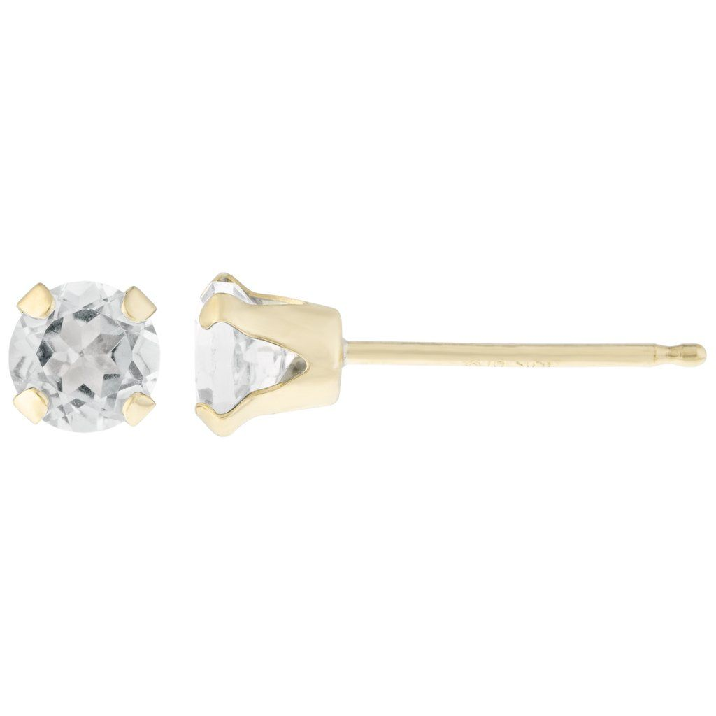50 Cttw Round 4mm Natural White Topaz 10k Yellow Gold Stud Earrings