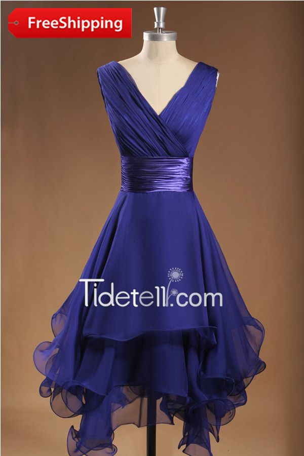Cute A-line V-neck Short Chiffon Bridesmaid Dress | Chiffon ...