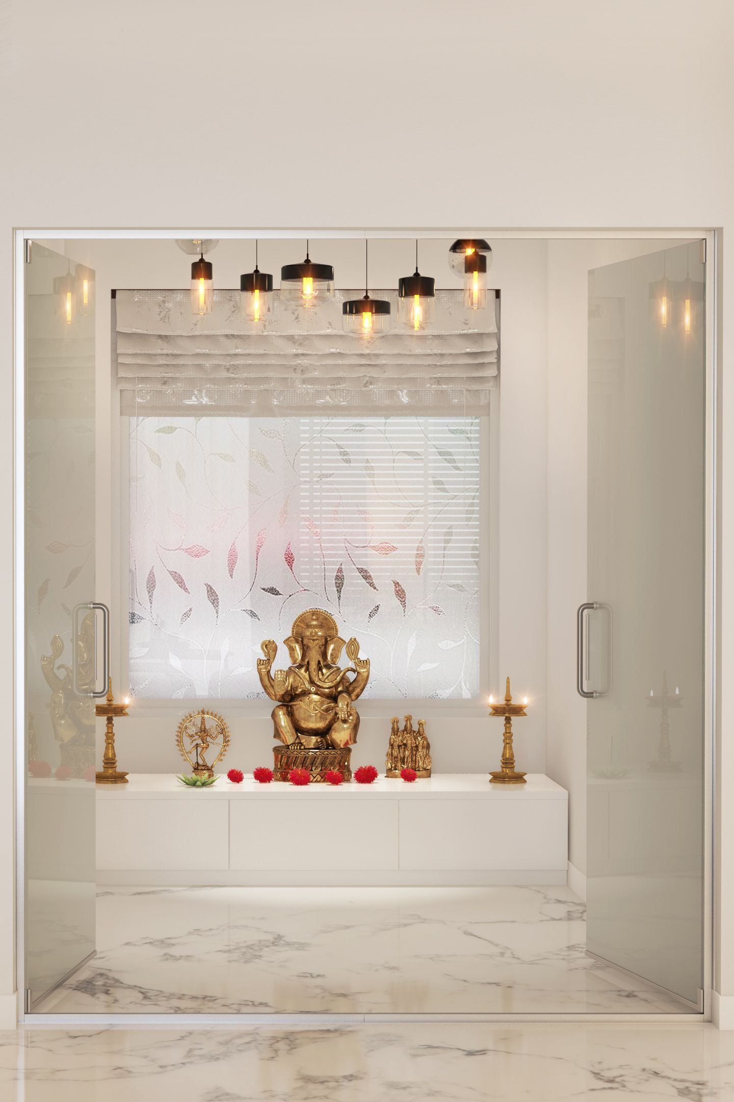 Online Room Decorator: Clean Walls And A Nice Little Pooja Space Embellished With