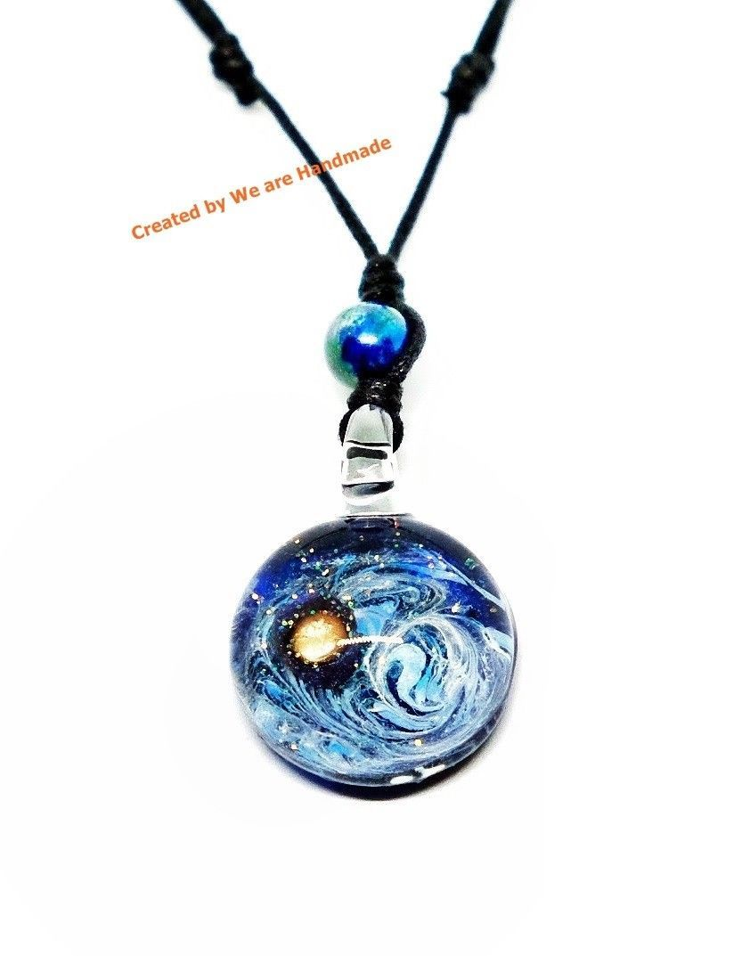 Handmade World And Space Glass Blown Pendant Necklace Jewelry