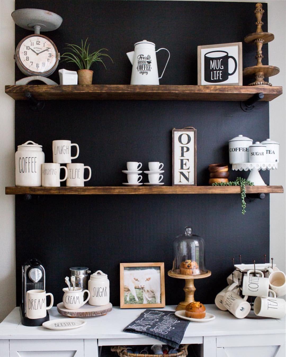 Coffee bar, coffee station, chalkboard wall, Rae Dunn