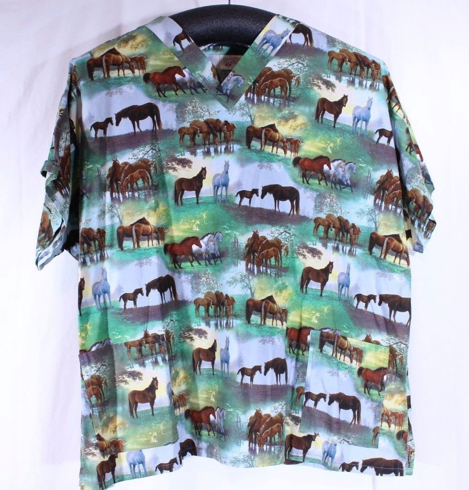 0350143c965 Animal Kingdom Nurses Scrub 5XL XXXXXL Horses Vet Pasture 2 Pockets ...