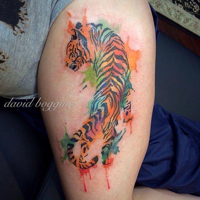 Watercolor tattoo of crawling tiger on leg | Tattoos ...