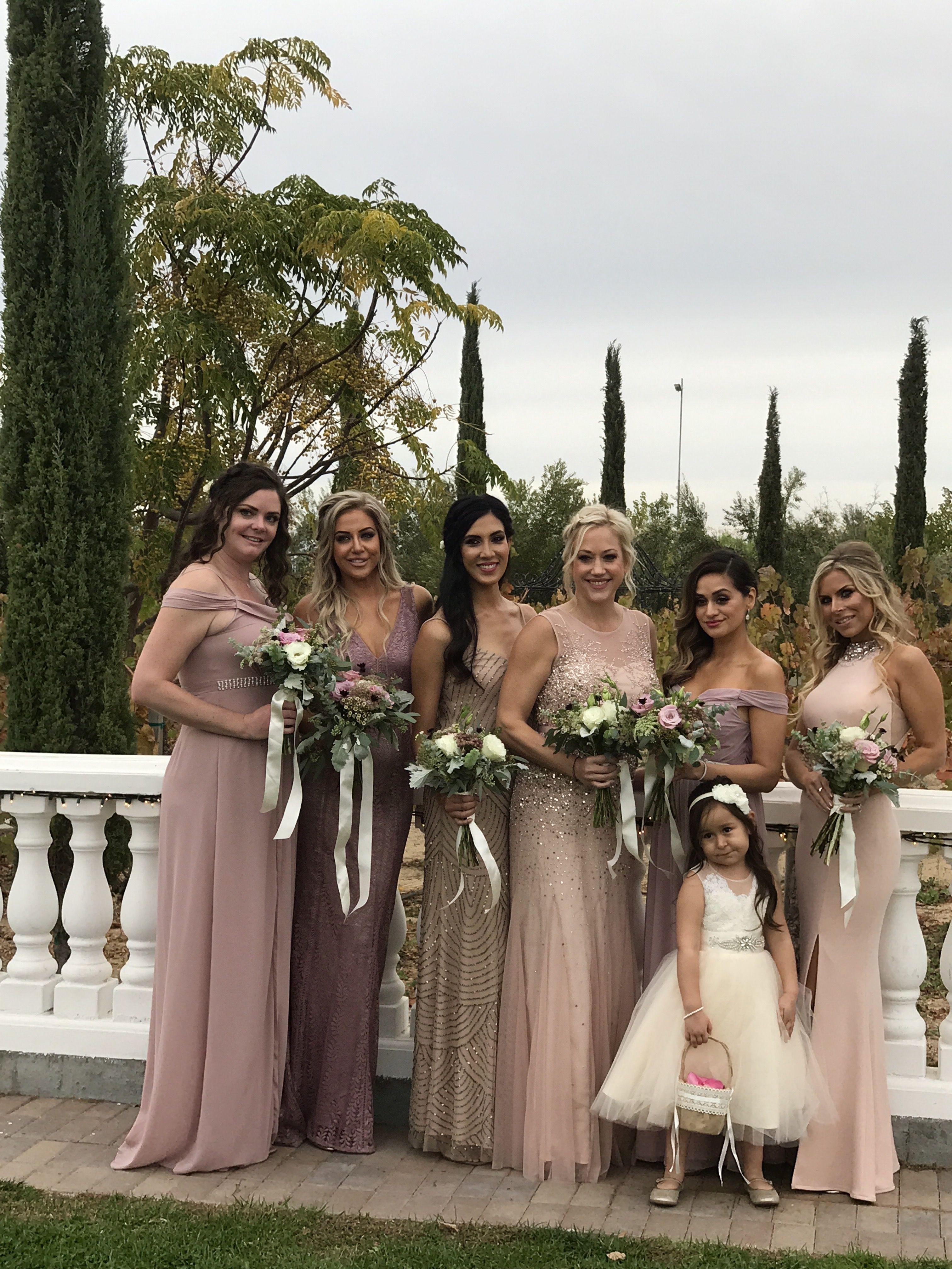 Bridesmaids in blush. Temecula Winery. Weddings Wedding