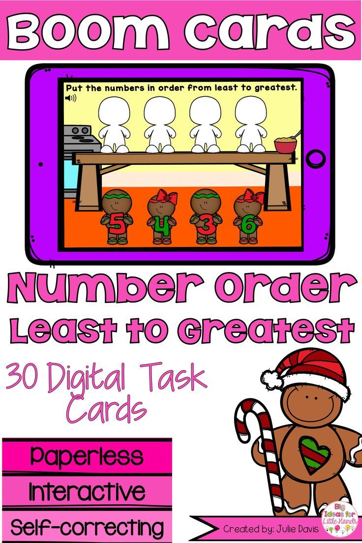 Gingerbread Numbers Least to Greatest Digital Game Boom