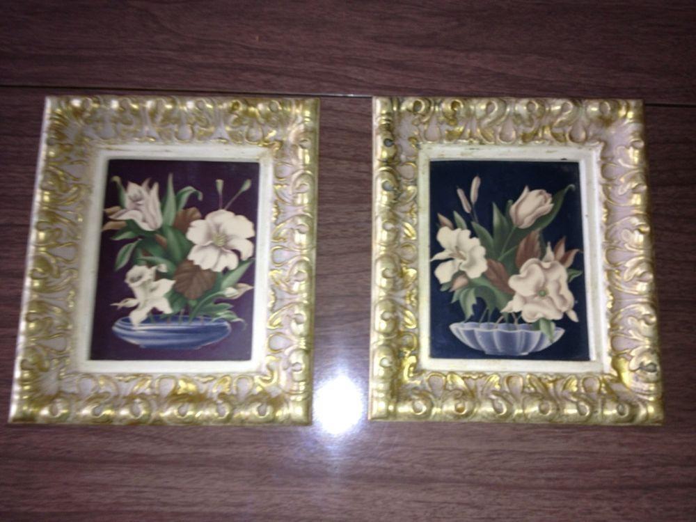Antique Picture Frames Plaster 1940s Art Deco White Gold Prints