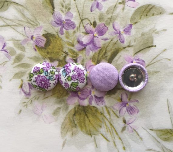 Purple Button Earrings / Set of 2 / Fabric by ManhattanHippy