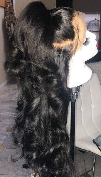 Beautiful long wavy wigs for black women lace front wigs human hair wigs long wavy hairstyles #lacewigs