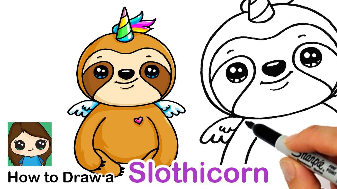 How To Draw A Slothicorn Sloth Unicorn Youtube Pets Drawing Drawings Unicorn Drawing