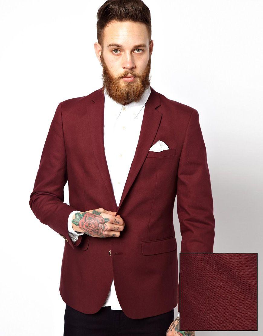 ASOS Slim Fit Blazer In Cotton