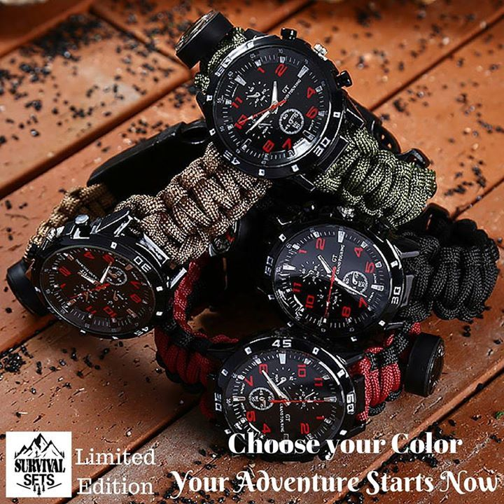 Do you like adventure ? Do you want to be ready in case of ... Then this is for you ! 6 in 1 paracord bracelet watch. We only have 100 units of this limited edition. Hurry up before they are all gone. Direct link here: http://goo.gl/HI3711 #outdoor #knives #camping #hunting