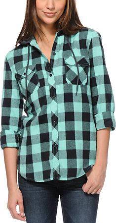 0865e850 Empyre Girls Bristol Mint Buffalo Plaid Hooded Flannel Shirt at Zumiez  ----- Just bought this too!