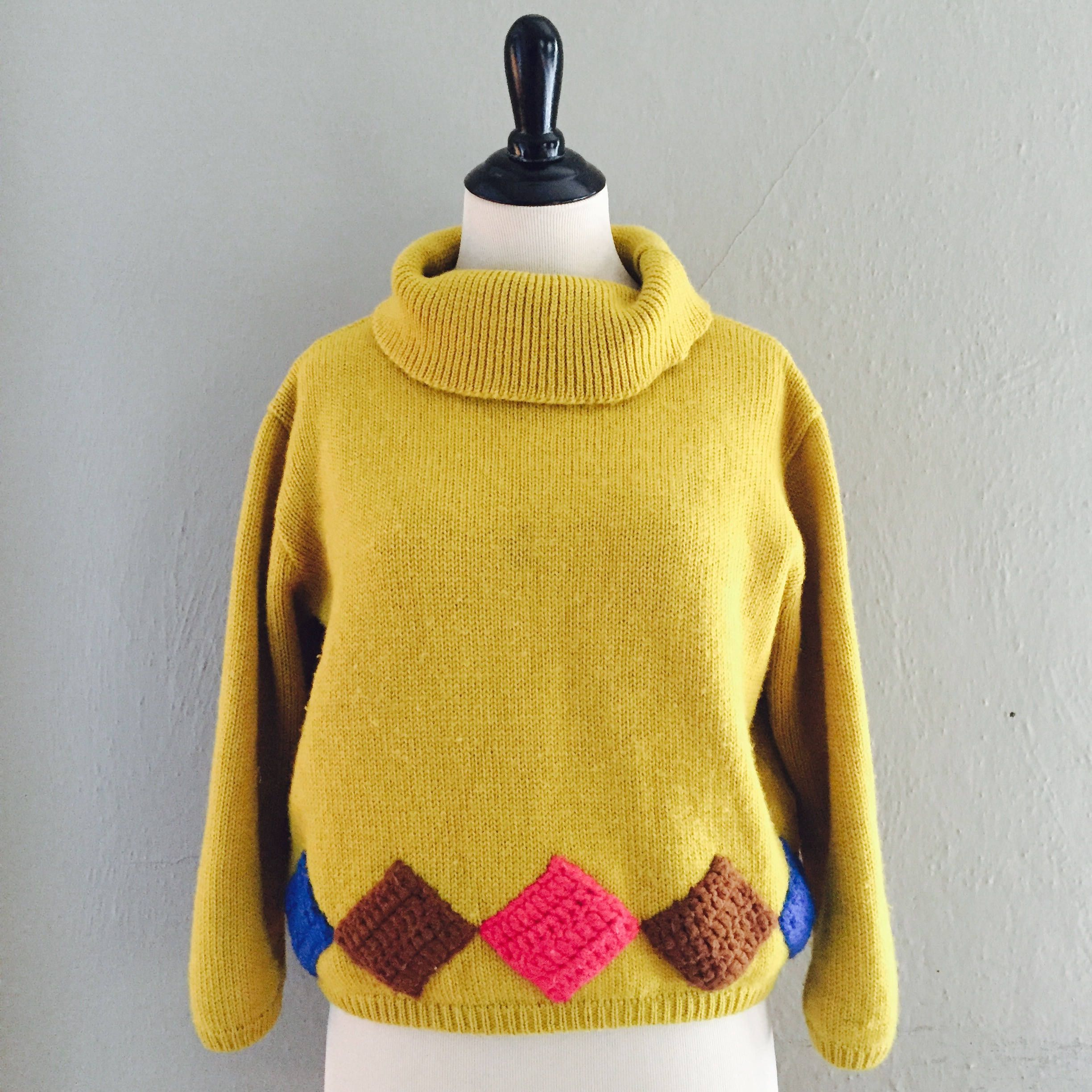 1950's Womens Vintage Cropped Mid Century Cowl Neck Mustard Yellow ...