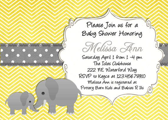 Yellow elephant baby shower invitation yellow and gray chevron mod elephant baby shower invitation yellow gray printable custom invite choose your color by 3 peas filmwisefo Images