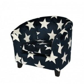 Kindersessel blau  Kindersessel STARRY blau mit weißen Sternen-Kindercouchenland ...