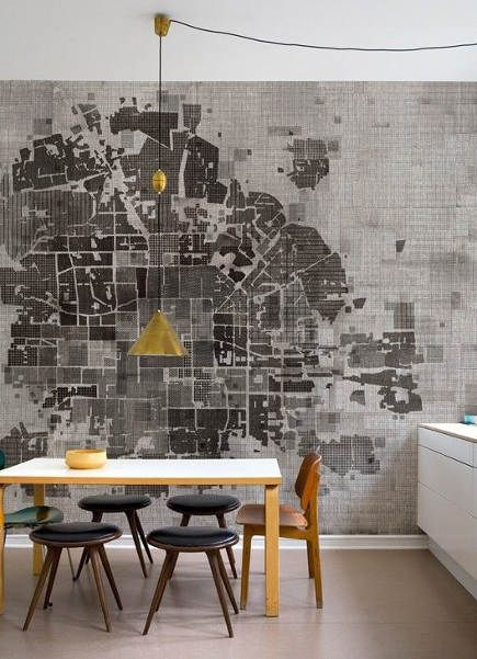 No plan wallpaper wall  deco via atticmag also dream home rh pinterest