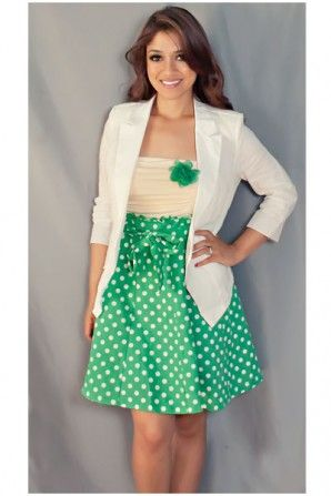 Green and white polka dot dress. This would be cute for gameday!