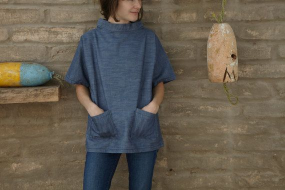 Artist smock / work shirt / short sleeved tunic with pockets / all ...