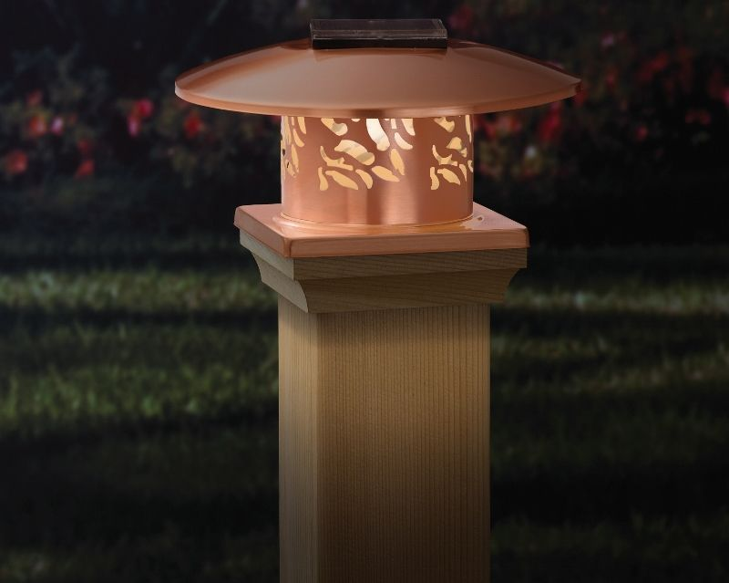 deck post lighting ideas on This Round Convertible Fence Cap Can Be Fitted With Either Solar Lights Or Tea Candles Either Way It Will Create A Gr Solar Post Caps Deck Lighting Deck Posts