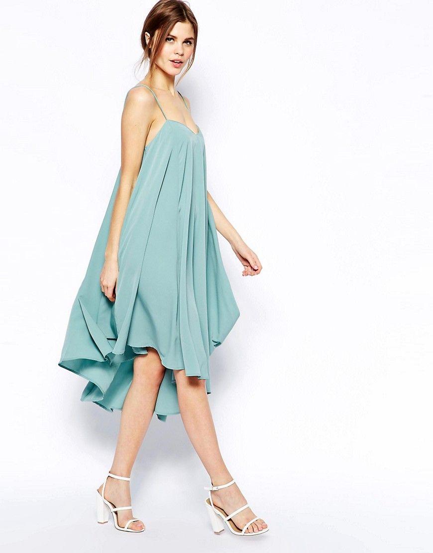 Image 4 of ASOS Cami Swing Dress with Asymmetric Hem   Pregnancy ...