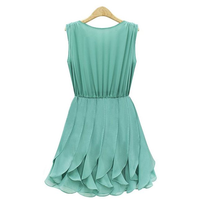 Pleated Solid Color Scoop Neck Sleeveless Refreshing Style Chiffon Dress For Women (GREEN,L) | Sammydress.com