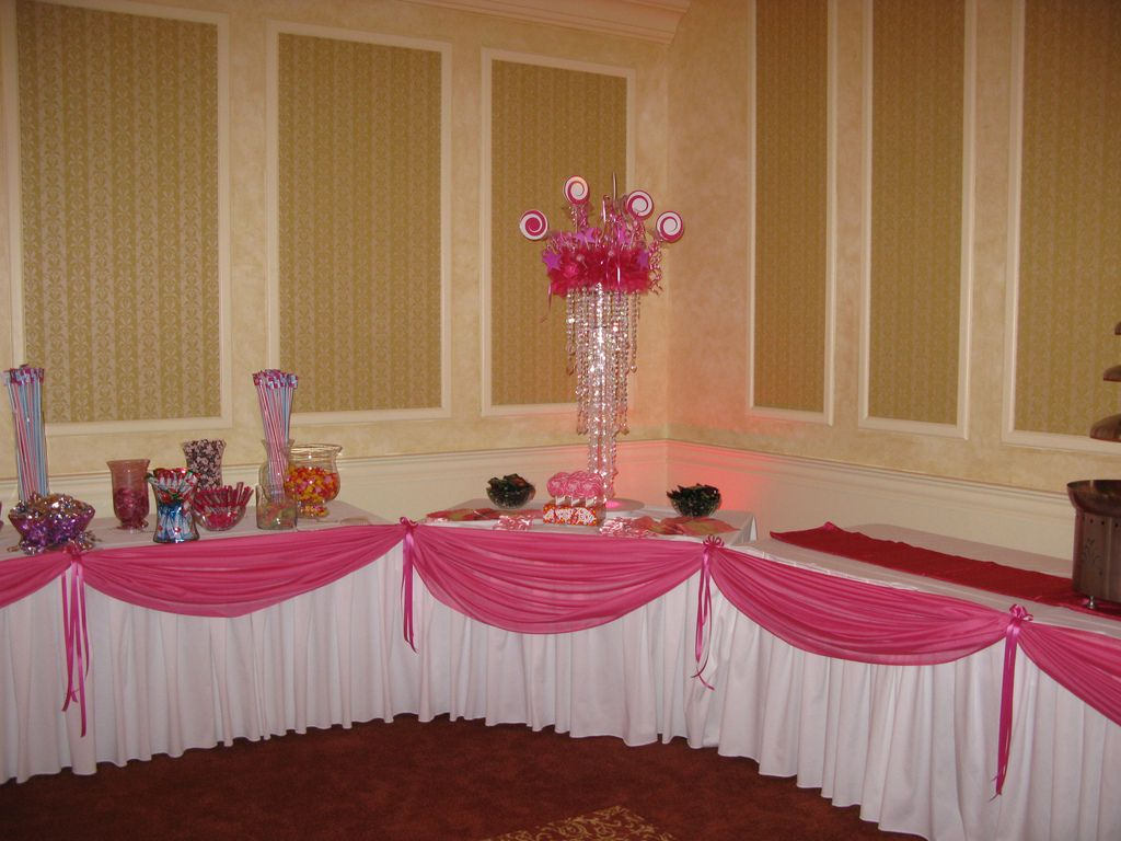 paris theme candy tables pink draping for candy table at a