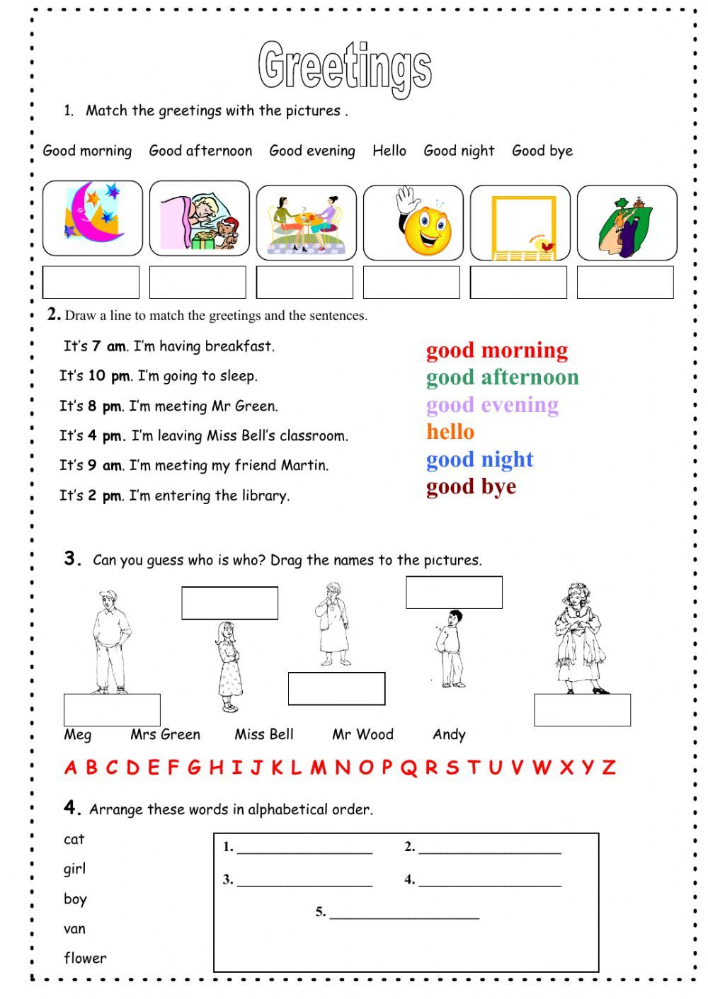 Greetings interactive and downloadable worksheet. You can