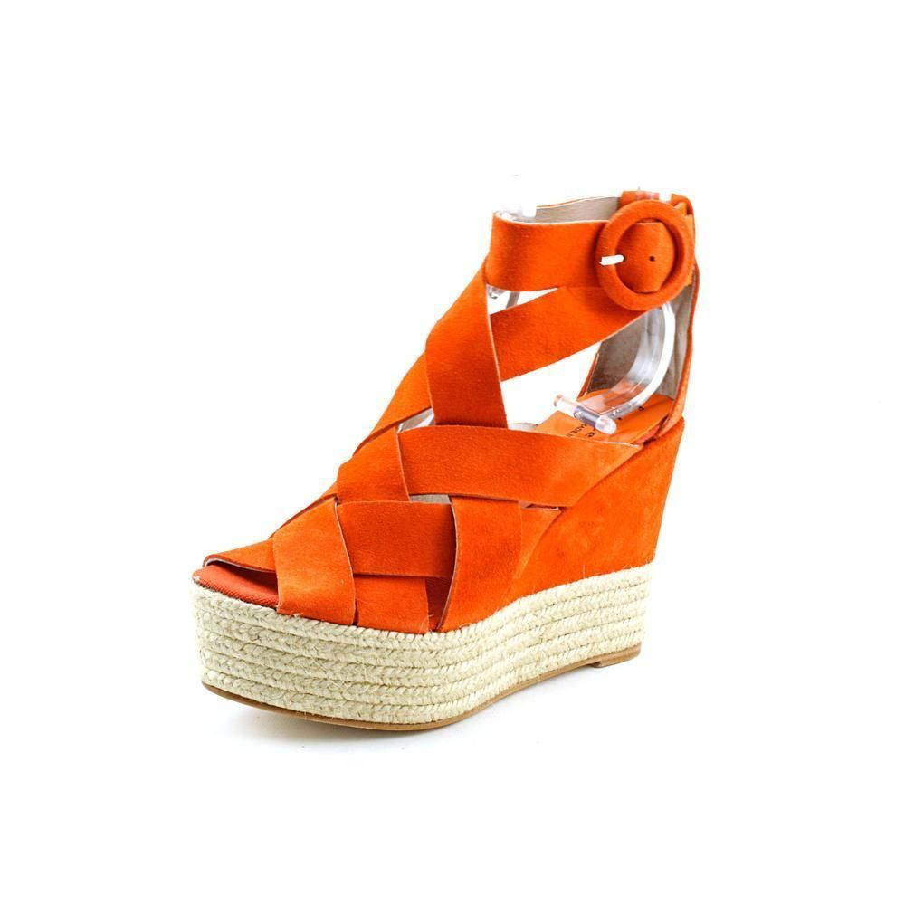 b671a3dfd2 Bettye Muller Harper Womens Size 9 Orange Suede Wedge Sandals Shoes New  Display | eBay