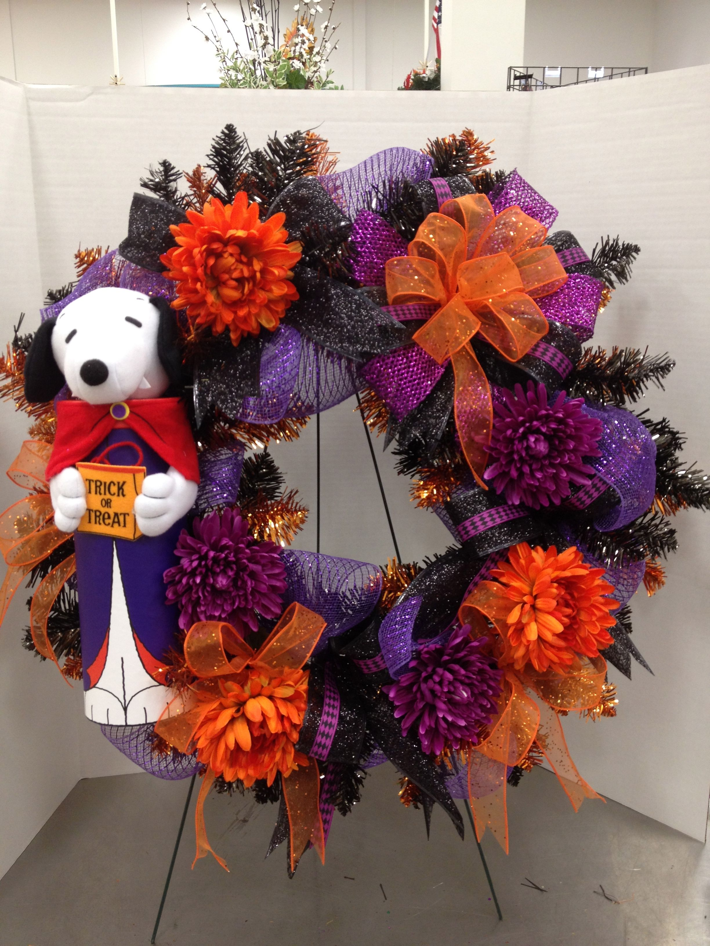 Peanuts Halloween Wreath 2012 By Christian Rebollo My Floral - michaels halloween decorations