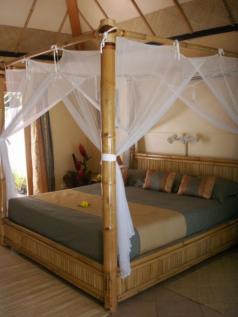 Like the canopy not the bamboo bed ca a pinterest for Gold canopy bed frame