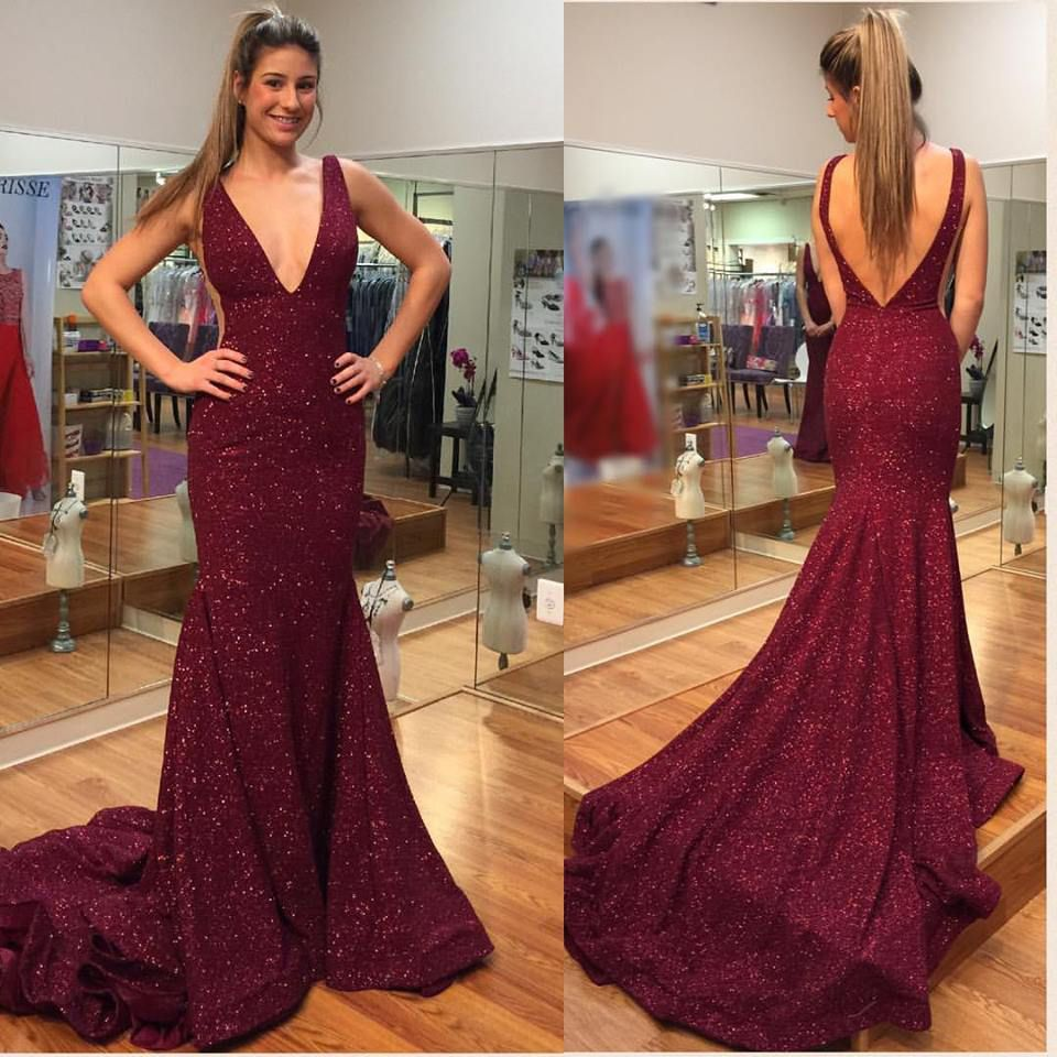 Burgundy lace prom dressesvneck mermaid evening dresses with