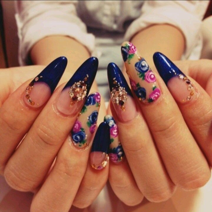 Image result for beautiful nail art on pointy nails
