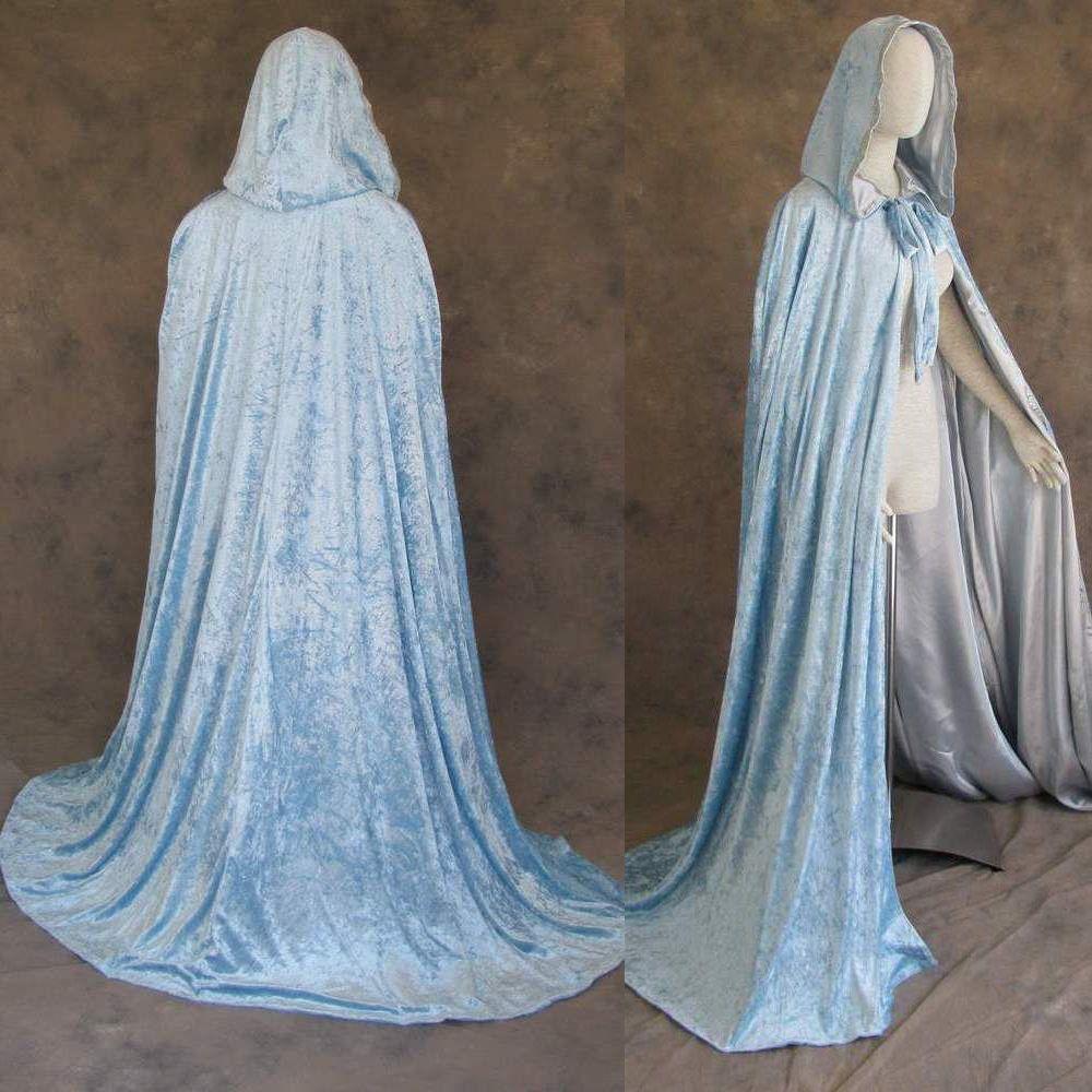 Celtic Wedding Dresses White Pale Blue Medieval Bridal: Lined Light Blue Velvet And Silver Satin Cloak Cape
