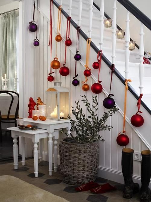 Big ornaments hanging on stair railing Christmas decor Pinterest