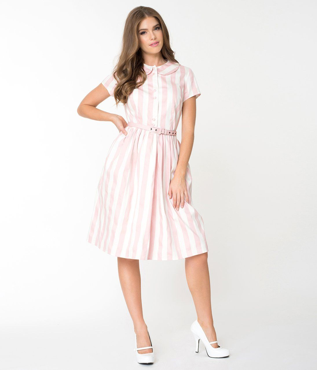 Pink White Striped Regina Shirtdress Write A Review Vintage Dresses 1960s Vintage Fashion 1960s 1960s Fashion