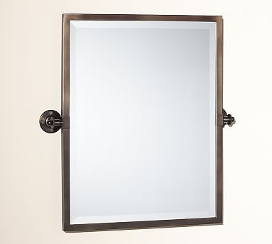 Kensington Pivot Mirror Rectangle Brass Finish At Pottery