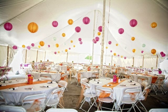 Tent With Colored Lantern Decorations