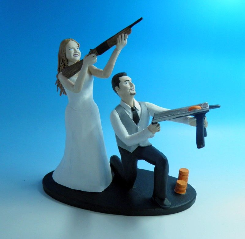 Skeet Shooting Fanatics Personalized Wedding Cake Toppers