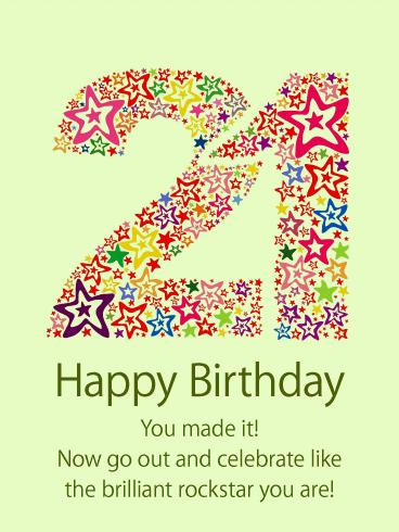 Party Like A Rockstar Happy 21st Birthday Card Birthday Greeting Cards By Davia Happy 21st Birthday Wishes Happy 21st Birthday 21st Birthday Wishes