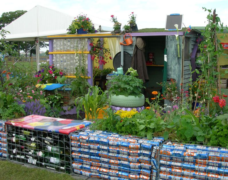 charming and colourful garden shed using lots of recycled
