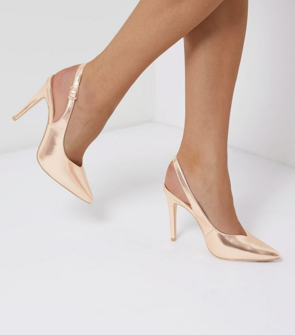 Rose Gold Pointed Sling Back Heels | New Look