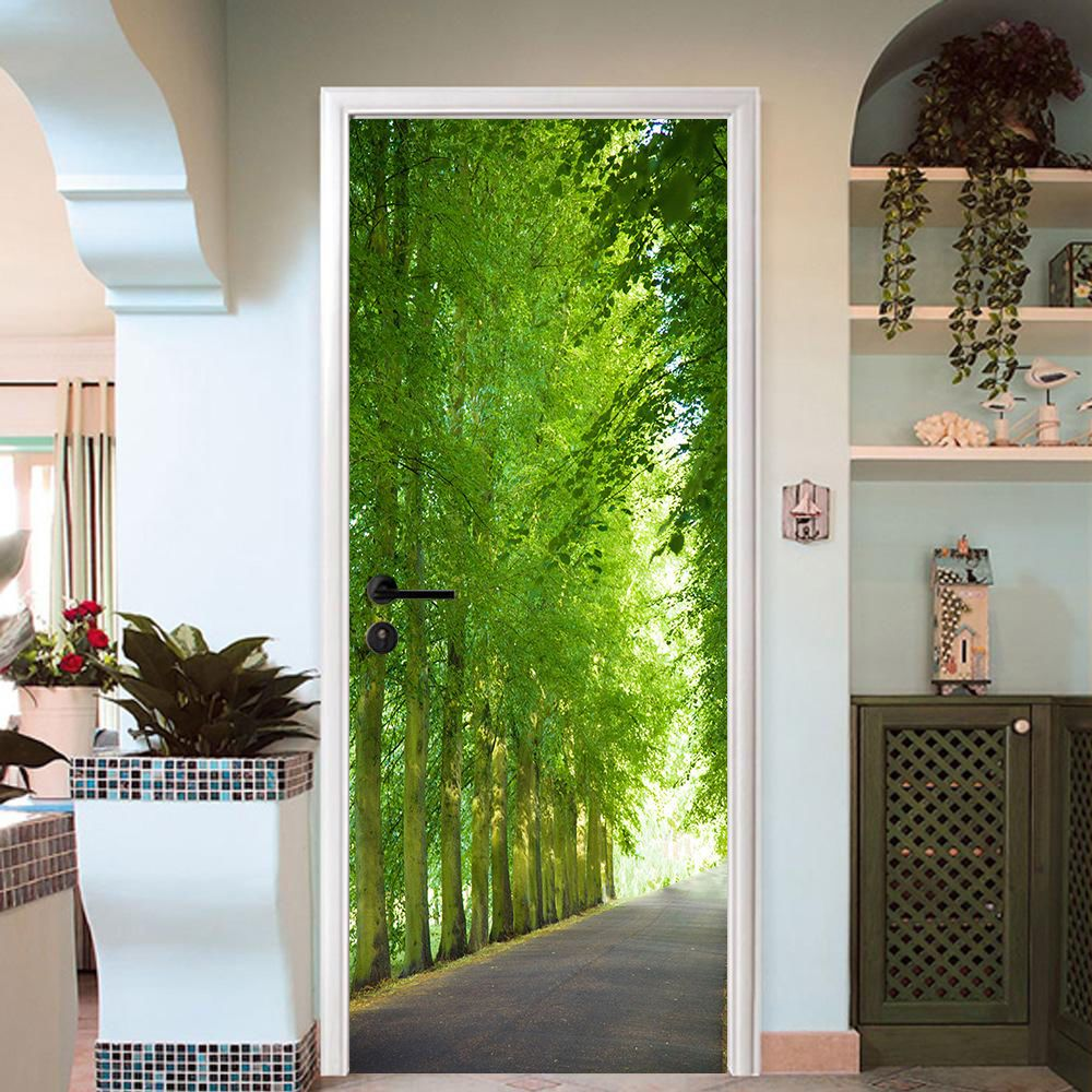 3d road tree rows door wall mural photo wall sticker decal wall aj wallpaper au