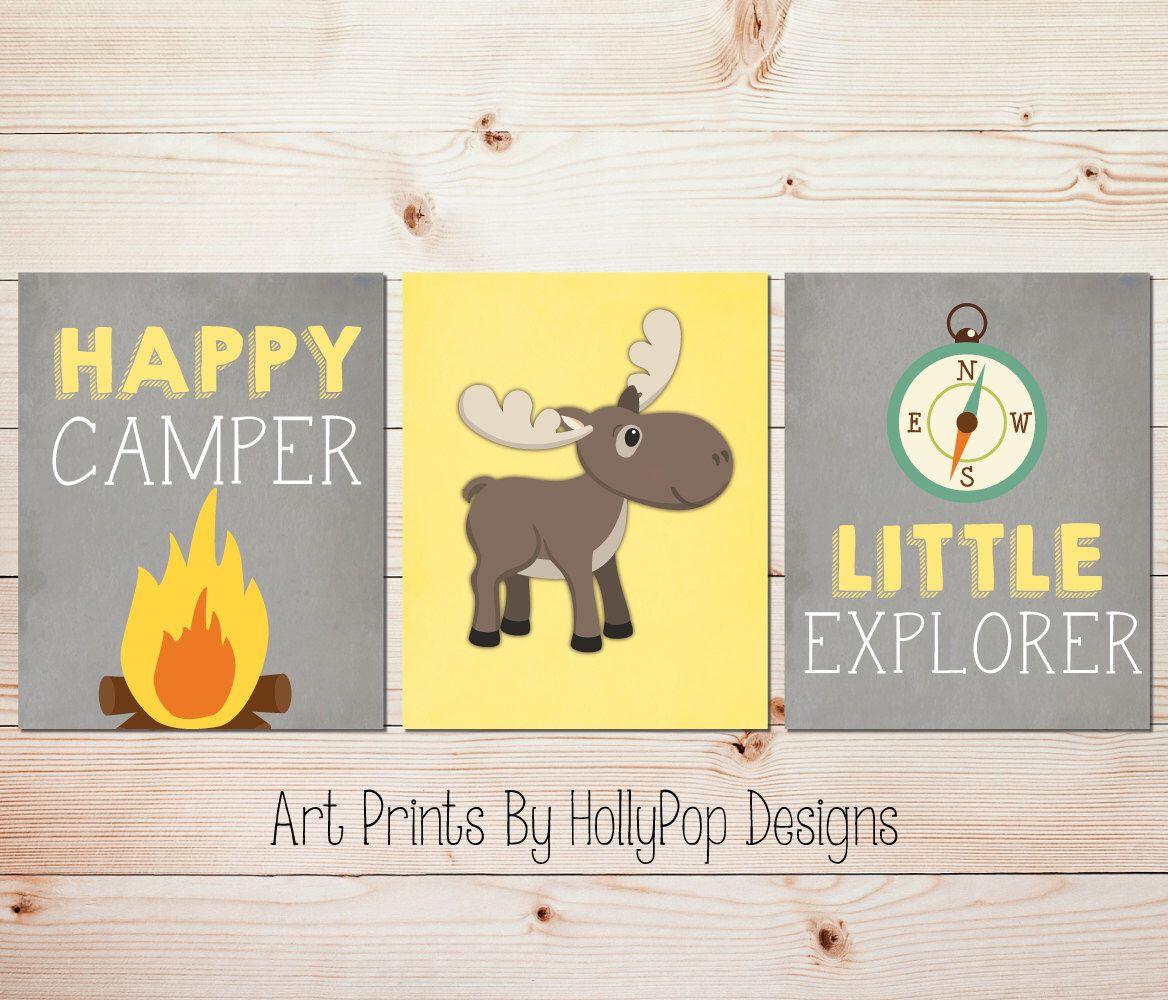 Yellow gray nursery art Happy Camper Little Explorer Moose nursery ...