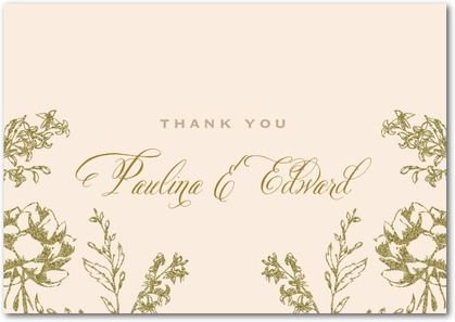 Artful Floral Signature White Thank You Cards Marchesa Nude