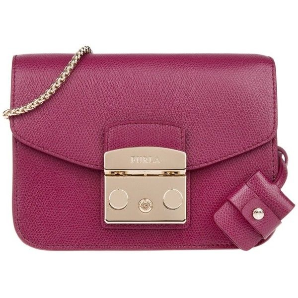Furla Metropolis Mini Crossbody Lampone in purple, Shoulder Bags ($270) ❤  liked on