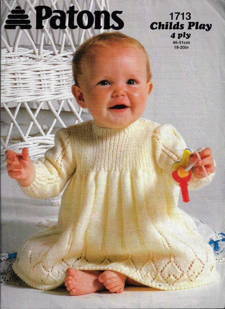 Baby Dress Patons 1713 Knitting Pattern 4 Ply Yarn Winter Knit
